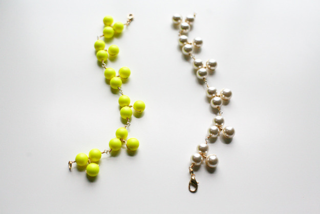 Neon/Neutral Triple Cluster Pearl Bracelet | Caught On A Whim I've always been a bit hesitant when it comes to wire wrapping because it has always seemed hard. But then I discovered that I was using the wrong type of wire! Using the right tools always makes life easier! I'm on the neon side of this choice, though the pearl one is still pretty gorgeous. Maybe I need to make both so that I have a choice!