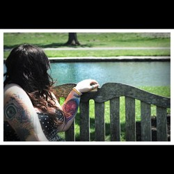 #girl #girlswithtattoos #girlswithpiercings #garden #bench #color #tattoo #philly #pinup #piercing #polkadot #photoshoot #curvy #chickswithink #ink #bodymods #stretched #lobes #love #artist #art #altmodel #model