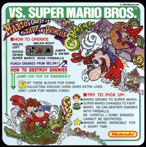 tvgame:  Vs. Super Mario Bros. | Nintendo | 1986 Instruction card