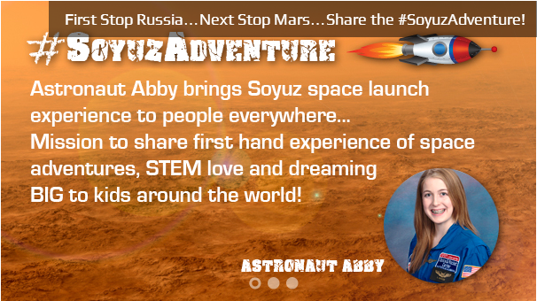 "@AstronautAbby - A teen bringing STEM inspiration to young people all over the world through her passion and first hand space experiences.  #scichat #STEM #space Hoping to be one of the first to go to Mars, Abby shares her incredible journey on her blog. She is a girl with a mission and a well thought out plan.   Classroom Chats with Abby! Interested? I thought so. ""One of the tenants in STEM education is to pass the torch to the next generation of kids and ignite excitement and love of learning. Astronaut Abby wants to share her adventures in STEM learning with as many kids as possible.  For Abby's upcoming Soyuz Space Adventure she has created a series of web chats to share with kids around the world. Teachers, parents, students and community members may sign their school for a chance at a chat. ***Classrooms will be selected through a random drawing which will occur on June 15, 2013. Chats will be scheduled between September 2013 – February 2014."" Abby has also created a Rocket Hub project proposal to help fund her projects which you can view here. You may also like… AB PIP STEM Math by Design - Become a junior architect interactive I Was Wondering - Women in Science Interactive"