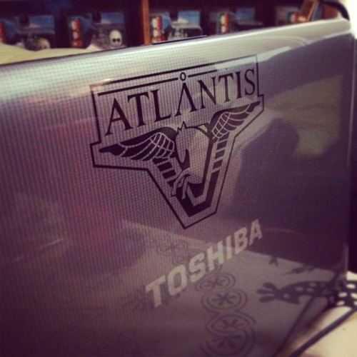 My wonderful boyfriend got me a Stargate Atlantis sticker for my computer! Officially a big dork. #stargate #stargateatlantis #atlantis #nerd #computer #dork #scifi #Pegasus