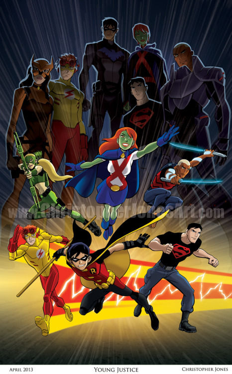 "christopherjonesart:  The very popular Young Justice print that debuted at the C2E2 convention last weekend is now available from my Etsy store! This is an art print on 11"" x 17"" cardstock. This print features hand-drawn line art with color added in Adobe Photoshop. The URL watermark does NOT appear on the actual print, and the artwork will come signed by the artist. The print is $30 from my Etsy store, so it's still cheaper to buy it from me in person at a convention or signing where I only charge $20 for my 11""x17"" prints. If you can't see me in person, now you have an online option!The print depicts ""The Team"" as seen in the Young Justice animated series in their Season 1 incarnations below, and as seen in Season 2 (set 5 years later) above. Young Justice was produced by WB Animation for Cartoon Network, featuring DC Comics characters. Christopher Jones was the artist for the tie-in comic book series published by DC Comics, featuring character designs and story continuity from the animated TV show. The comic was written by Greg Weisman, co-producer and head writer of the TV show."