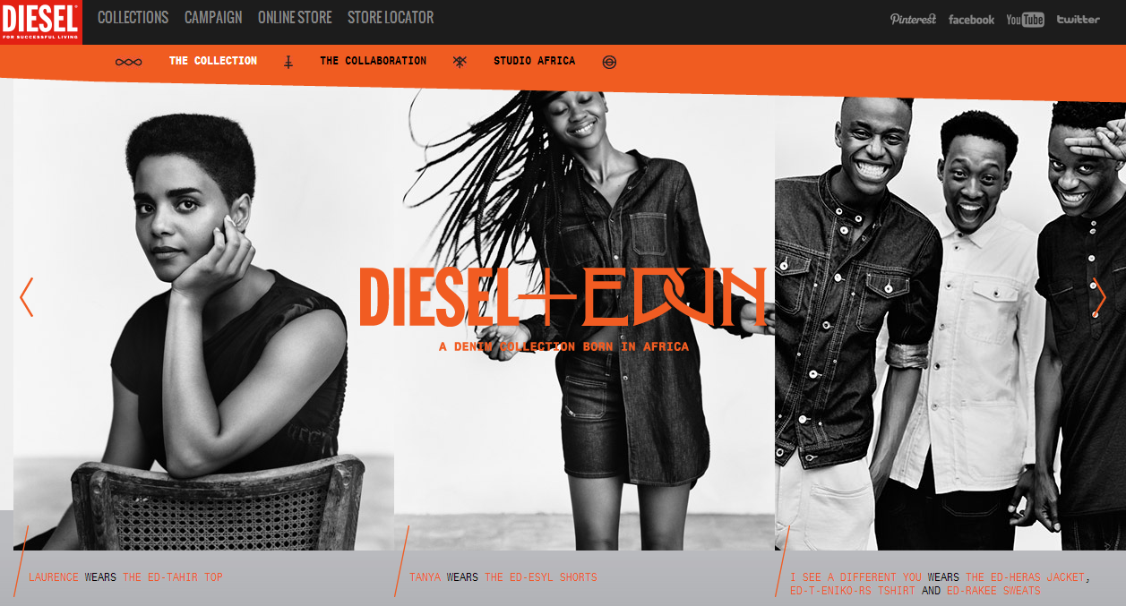 "I'm part of the new #Diesel + #Edun ""Born In Africa"" Denim Collection and 1 of 9 members of #StudioAfrica which is a virtual loudspeaker for a new generation of creative talents across the continent Click & Follow the Studio Africa Tumblr Here for behind the scenes footage, profiles of the 9 creatives (mine is here) and many more exclusives."