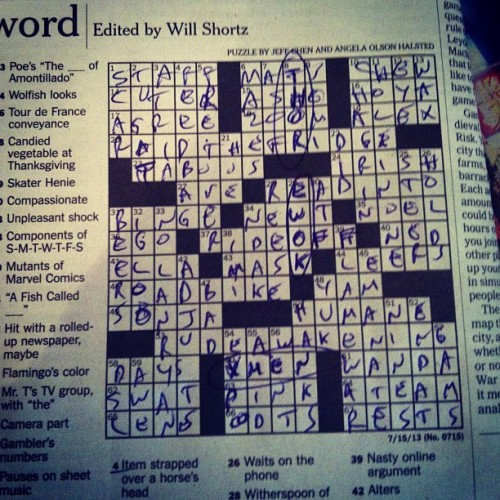 Nerdy NY Times crossword today. SPOILERS! :) X-Men, Thor and Ewok are all answers. #YesMyHandwritingSucks