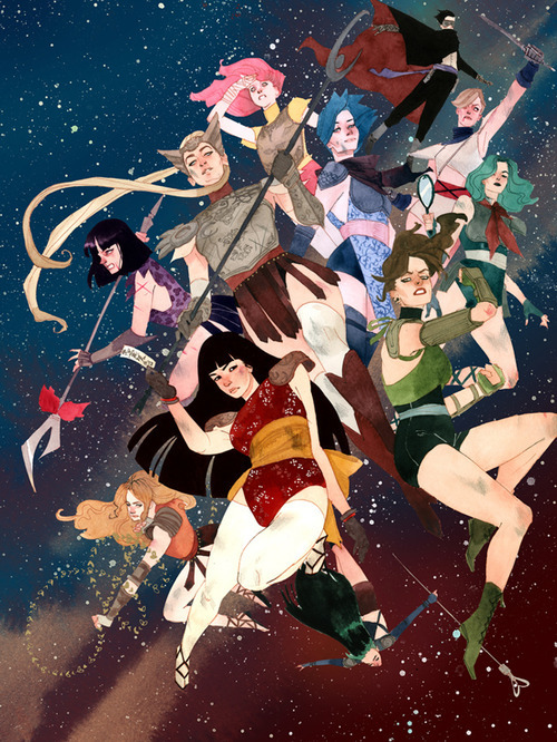thedarknerdrises:  kevin wada´s take on x-men, pokémon and sailor moon