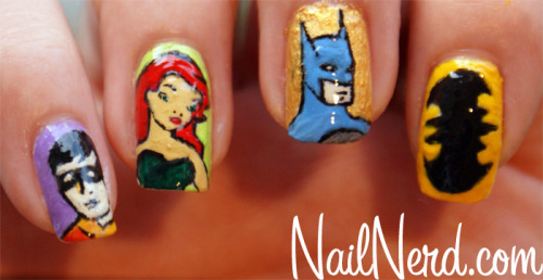 Manicure Monday: Batman nails, by Nail Nerd The Robin nail is my favorite (obvi).