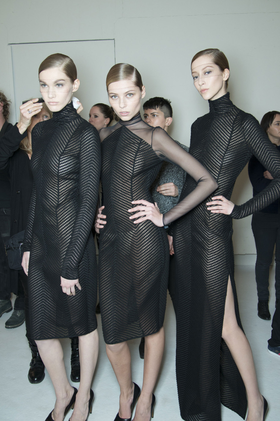 hautecouture-wings:  Akris Fall 2013 (Backstage) Paris Fashion Week