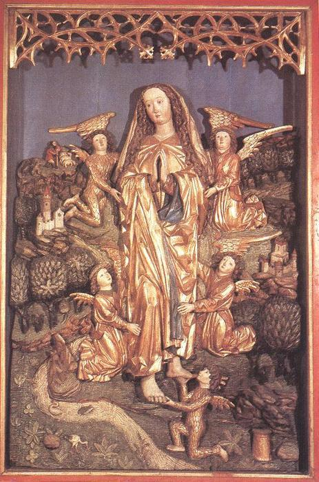Assumption of Saint Mary Magdalene, central sculpture of the Berki Altarpiece (northern Hungary, today Rokycany, Slovakia), 1480-1490, painted and gilded wood, 161 x 121 cm, Hungarian National Gallery, Budapest  Posting it again, knowing that this time it will get to MUCH more people than on 04 Oct 2010…