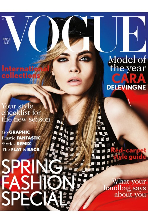 Cara Delevingne makes her British Vogue cover debut, photographed by Mario Testino.