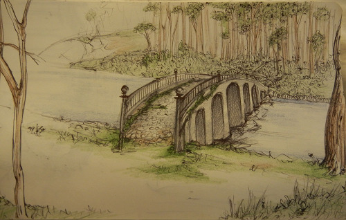 Imaginary bridge. - Ballpoint pen and coloured pencils.