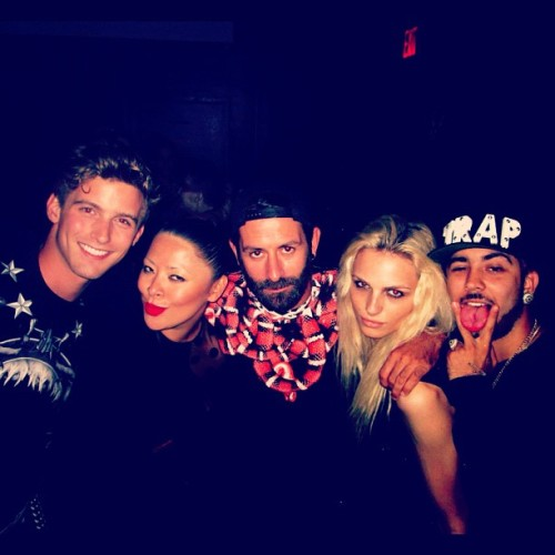 RJ King, Tracy Sedino, Marcelo Burlon, Andrej Pejic & Rembrandt Duran at NYFW 2012. Source: tracy_sedino instagram