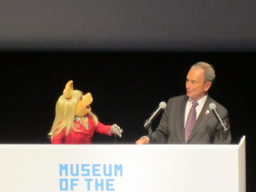 toughpigs:  The Museum of the Moving Image in Queens, New York will be getting a PERMANENT Jim Henson exhibit in winter, 2014!  More importantly, Miss Piggy, Gobo Fraggle, Oscar the Grouch, and Mayor Mike Bloomberg made the announcement earlier today. Your pals at ToughPigs were there to witness it all, and we'll have videos and a writeup for you all very soon. Click here for more info.