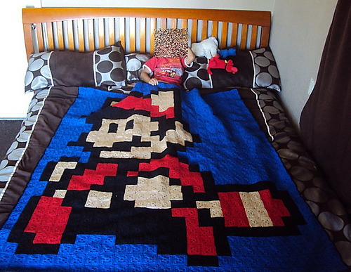 yarn-it-over:  I'm working on this blanket for my brother for his birthday on July 7th. He's turning 7! :)  I started late (yesterday) and am afraid I won't get it done in time. In total, there are 725 squares. 350 are blue, 200 are black, 76 are red, and 99 are tan.  How long do you think it would take to make this blanket? I REALLY want to have this done for him and then make these for his friends:  The hats aren't a necessity, the blanket is, but I'm afraid I won't have it done :(