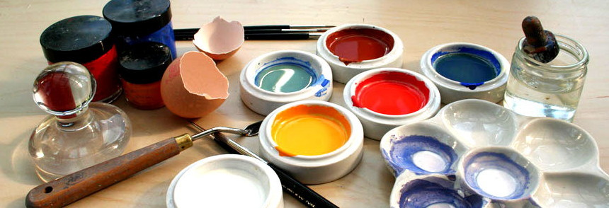 "Society of Tempera Painters ""Egg tempera is a painting process that uses egg yolk to bind pigments. The artist must manufacture the paints him/herself by the simple process of mixing finely ground pigment, water and dilute egg yolk."" Although tempera has been out of favor since the Late Renaissance and Baroque eras, it has been periodically rediscovered by later artists. The 20th century saw a significant revival of tempera including artists Giorgio de Chirico, Otto Dix, Eliot Hodgkin and Andrew Wyeth."