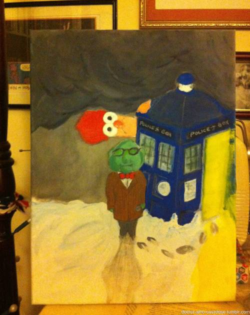 doctor-who-overdose:  Couldn't afford Christmas presents this year, decided to make them. Here's a painting of the Doctor and his Assistant I did for a friend… (Sorry for the dreadful photo)Click for the best DoctorWho tumblr ever.