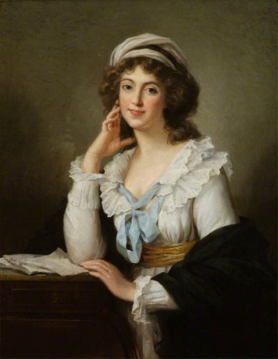 Self-Portrait by Vigée-Lebrun, 1793 A gorgeous selfie by V-L, as usual - though it doesn't look much like her! I adore the double ribbon closure around the neck of her chemise à la reine.
