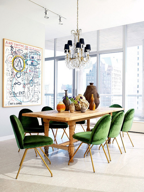 thisisnotmylifeforever:  Dining room with vintage chairs and green upholstery by xJavierx on Flickr.
