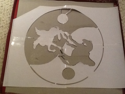 Just finished my first stencil! Hopefully it works when paint is used…..