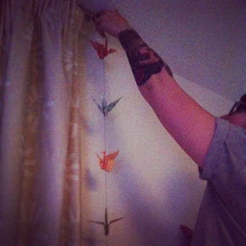 Hanging all the cute Japanese things #cranes #japan