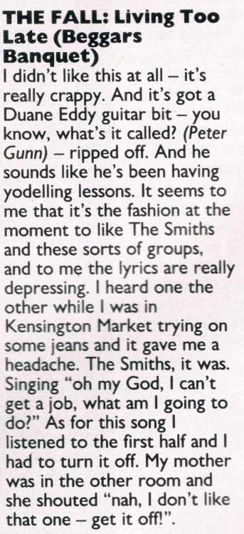 batchelorkisses:  Samantha Fox reviews The Fall Smash Hits 1986