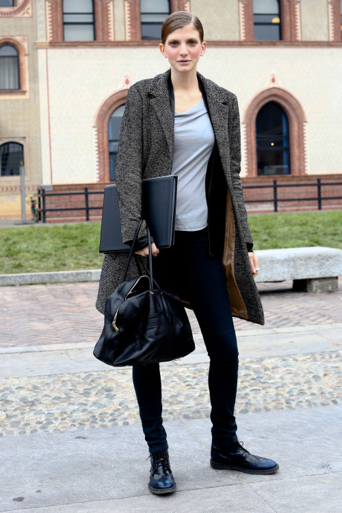 Caterina Ravaglia street style at Milan Fashion Week Fall 2013
