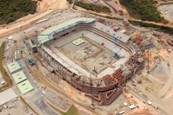 Quality aerial shot of Arena Pernambuco, 2014 World Cup venue in Brazil.