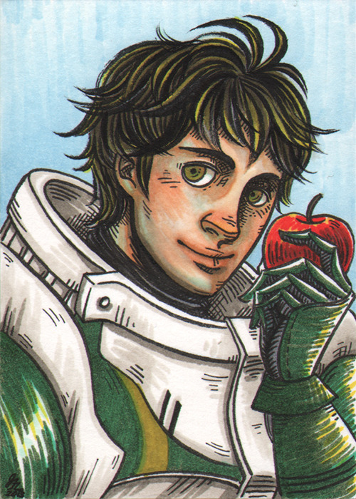 Stahl sketchcard! The hubby of my good friend fairyring (check out her Fire Emblem cosplay!). For some reason I struggled with this one, kept messing up his face during inking, and went through two cards before I finally got it better. Third time's the charm I guess.
