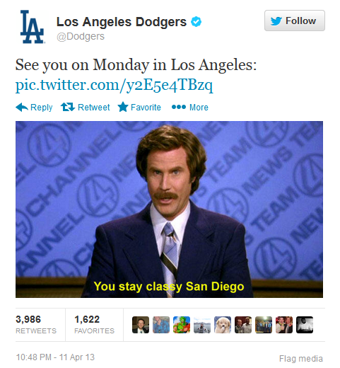 latimes:  The Dodgers' perfect response to the ridiculous brawl last night with the San Diego Padres. Padres outfielder Carlos Quentin charged Dodgers pitcher Zack Greinke in the sixth inning after being hit by a pitch, sparking a dugout-clearing brawl that left Greinke with a broken collarbone.Read more details on the fight's fallout over at Sports Now.  Dodgers win the day in social media with this one.