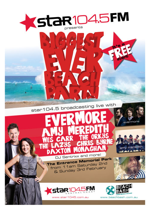 Hey guys, we are joining up with StarFM for their 'BIGGEST EVER BEACH PARTY' this weekend!! We'll be playing a special set on Saturday (2 Feb) at The Entrance Memorial Park on the Central Coast (NSW) :D and its for FREE!! We'd love to see you all there! So make sure you come hang out if you can xx