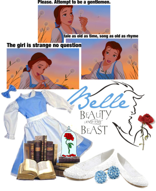 Belle….Beauty and The Beast by queenrachietemplateaddict featuring flower shoesCharlotte Russe flower shoes / Blue earrings / Beauty and the Beast Vinyl Decal, Wall Sticker, Wall Tattoo