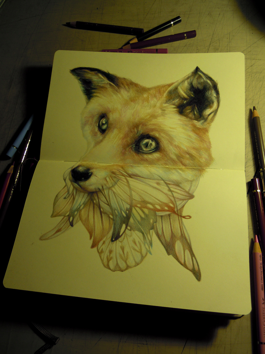 marcomazzoni:  the bearded fox on moleskine  Three tails