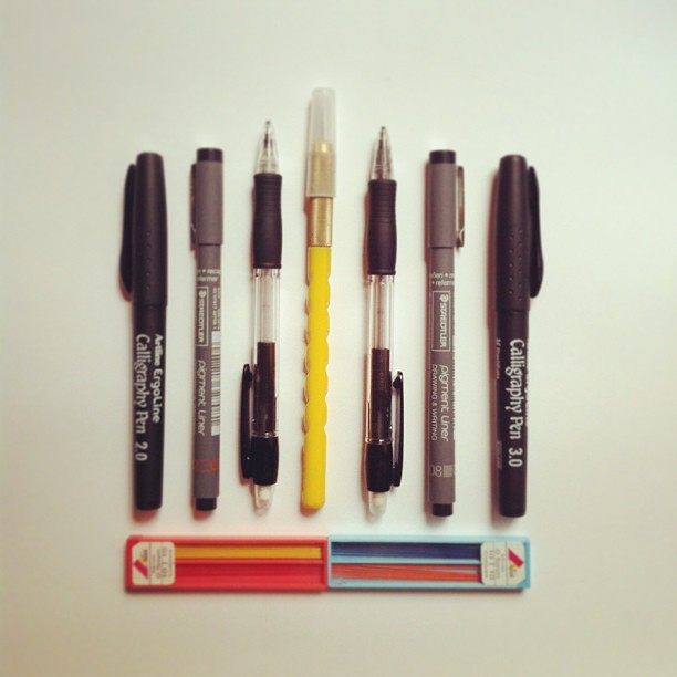 These are some of my everyday tools, from a scalpel to calligraphy pens @arthouse #encyclopediaof (at Noem9 Studio)