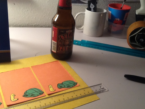 Making comics and having a beer.