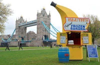 thedailywhat:  Meanwhile in London of the Day: Bluth's Banana Stand is Going On Tour To promote the upcoming season premiere of Arrested Development on May 26th, Netflix has launched a pop-up shop tour of Bluth's Original Frozen Banana Stand, which will serve up real frozen bananas and photo ops with cast members in various locations across Great Britain and the United States, starting with London (as seen in the picture) this week and a few more pit stops in New York and Los Angeles in the following week. Is there any money in it? Perhaps you should find out!    Will it come to Philly?