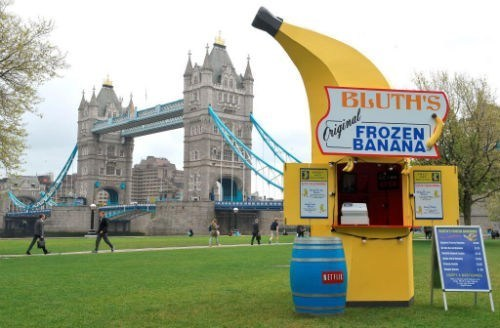 thedailywhat:  Meanwhile in London of the Day: Bluth's Banana Stand is Going On Tour To promote the upcoming season premiere of Arrested Development on May 26th, Netflix has launched a pop-up shop tour of Bluth's Original Frozen Banana Stand, which will serve up real frozen bananas and photo ops with cast members in various locations across Great Britain and the United States, starting with London (as seen in the picture) this week and a few more pit stops in New York and Los Angeles in the following week. Is there any money in it? Perhaps you should find out!