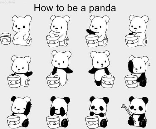 panda-flap:  Illustrations & Posters / How To Be a Panda op We Heart It http://weheartit.com/entry/62072455/via/ZengYuan
