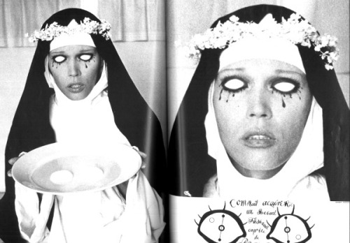 frenchtwist:  Amanda Lear as St. Lucy by David Bailey for Vogue Paris, 1971 Styled by Salvador DalíAlso