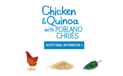 Nutritional Information for Campbell's Go™ soup  Chicken & Quinoa with Poblano Chilies Buy from Amazon > Serving Size 1 cup (240mL)Servings Per Container about 2 Amounts Per Serving:Calories 160Calories from Fat 15Total Fat 2gSaturated Fat 0gTrans Fat 0gCholesterol 25mgSodium 790mgTotal Carbohydrate 23gDietary Fiber 5gSugars 5gProtein 12g % Daily Values*Vitamin A 4%Vitamin C 15%Calcium 4%Iron 10%*Percent Daily Values are based on a 2,000 calorie diet. Your daily values may be higher or lower depending on your calorie needs.