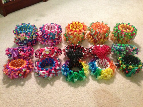 arsenicsuicide:  I've made 21 cuffs since I learned how only a little over a week ago. Shot a bunch of photos for a tutorial I'll be posting soon.