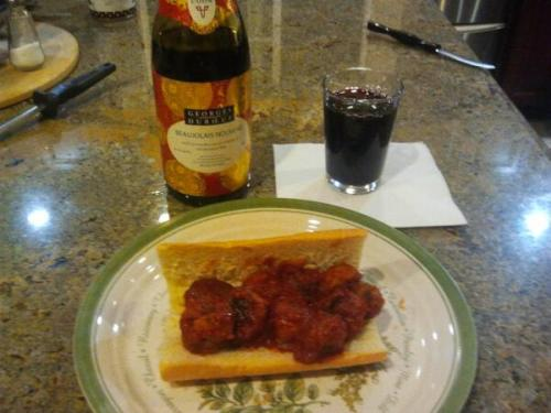 @caarellano Homemade meatball sub and beaujolais wine. #homemade