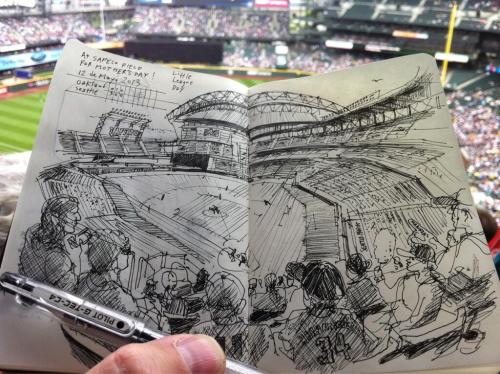 Sketched next to a happy mom at Safeco Field. Go @Mariners! #MarinersMom -@seattlesketcher