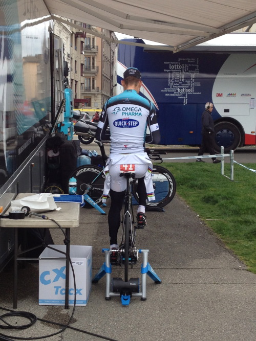 Tony Martin warming up before his victory.