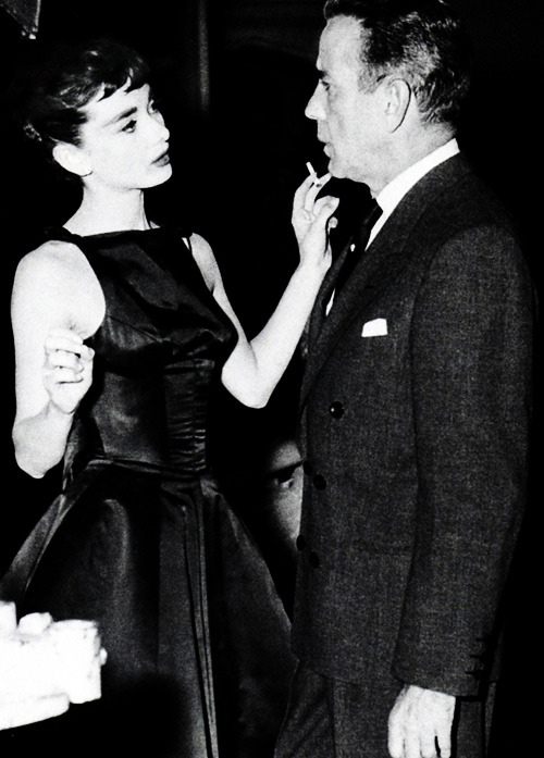 hollywoodlady:  Audrey Hepburn and Humphrey Bogart on the set of Sabrina
