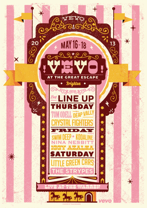 telegramme:  Had a blast doing this poster for @vevo_uk's showcase at the great escape festival this month.  good ol fashioned sea side fun for all! 3 colour hand pulled screen print on A2 vellum pop set paper.
