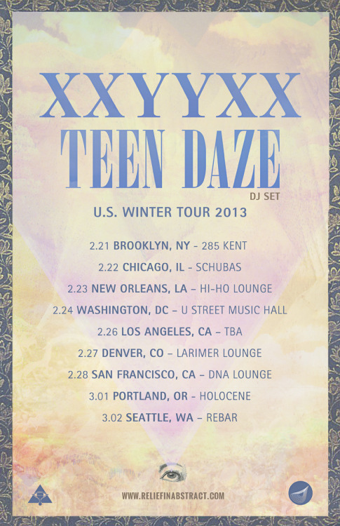 XXYYXX & Teen Daze 2013 TourArtwork by Guillermo Casanova