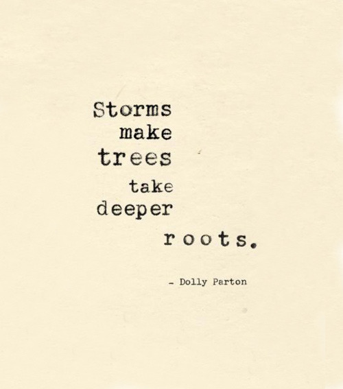"""Storms make trees take deeper roots."" - Dolly Parton"