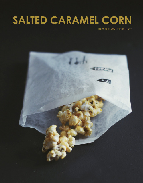 "Day two of our food gifting week: salted caramel corn!  Supplies corn kernels 2 tsp oil 1 1/2 cup white sugar (beet sugar) or light brown sugar 3 tbsp earth balance (vegan butter) 1 tsp vanilla extract coarse sea salt Instructions Cover the bottom of a medium pot with the corn kernels, then coat in the oil. Shaking every minute or so, heat the pot until all the corn is popped. (Wait until there's a couple of seconds between pops.) Transfer the popped corn into a big bowl. Wipe out the pot and pour in the sugar, butter, and vanilla. Let it all heat, stirring occasionally to keep it from burning. When the mixture starts to bubble, slowly stir it to bring it all together. When it's ready, it'll be consistently liquid and light amber in color. NOTE: Don't lick or touch the mixture, even if it's ""cooled"" on the spoon - the sugar is dangerously hot. Also, don't stir it too fast or the sugar will start to crystallize. Pour the caramel over the popcorn, folding it in as you go. Quickly sprinkle a couple of heaping pinches of sea salt over top and fold it in. The caramel will harden pretty quickly, so make sure to evenly coat the popcorn before it does! Be careful to not touch the caramel right after it comes out of the pan - it's still really hot!  To give as a gift, break it into small chunks and package in a small paper bag, taped over with festive washi tape."