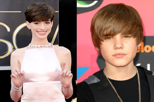 Who wore it better? Anne Hathaway or Bieber? #Oscars #Oscars2013
