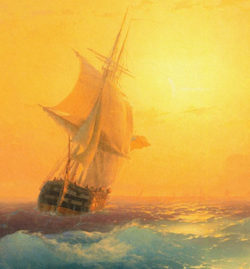 faustyflakes:  American Shipping off the Rock of Gibraltar, Ivan Aivazovsk, 1873. Detail.