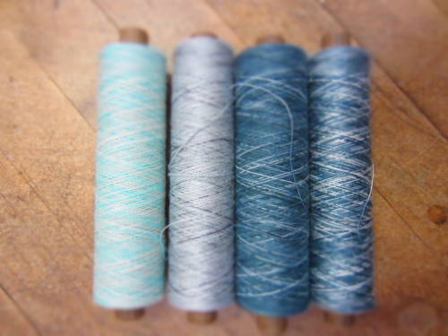 trailofyarn:  Hand dyed yarn in cotton and viscose.